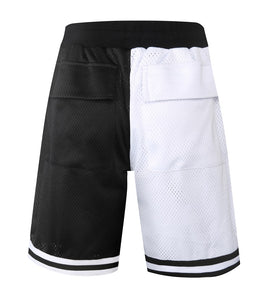 white and black fusion Basketball Shorts  WP014