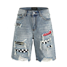 Load image into Gallery viewer, Destroyed Denim Blue Shorts WP064