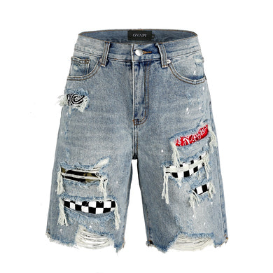 Destroyed Denim Blue Shorts WP064