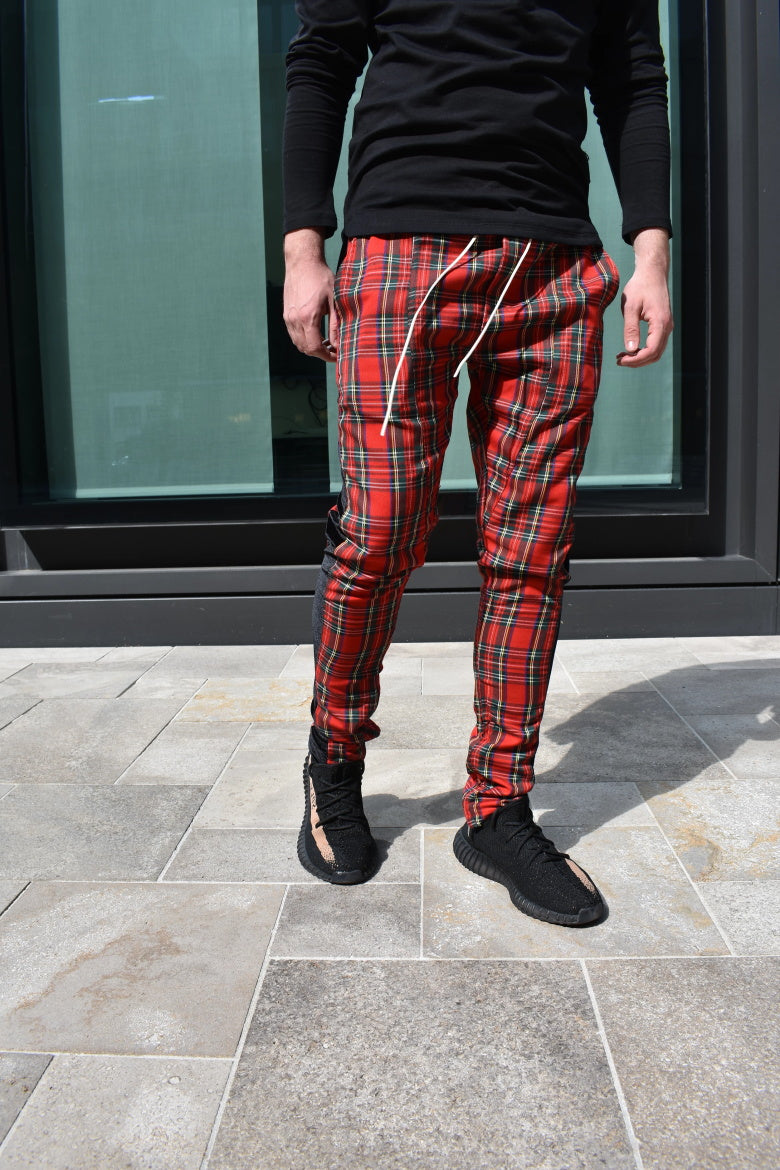 Velour Red Plaid Track Pants WP087
