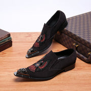 Fashion Men's Metal Pointed Toes Low-Heel Loafers