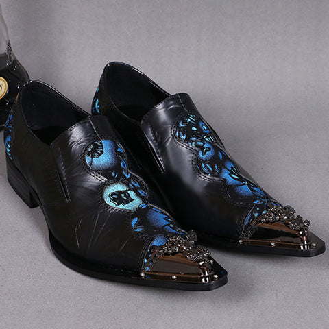Fashion Men's Carving Mixed Color Low-Heel Leather Shoes