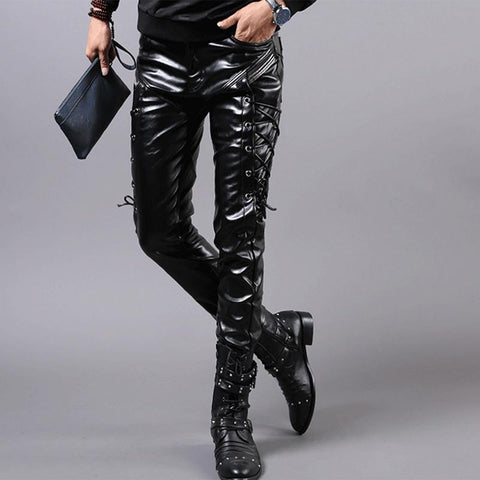 Fashion Slim Locomotive Feet PU Stitching Leather Pants