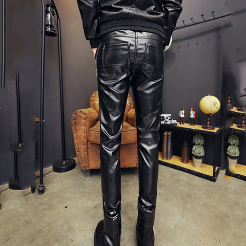 Casual Thickening Plus Velvet Tight-Fitting Male Feet Pants