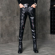 Fashion Personality Thickening Slim Male Zipper Decorative Leather Pants