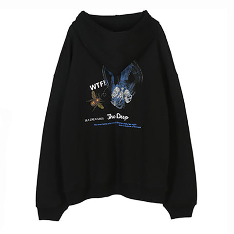 Lazy Style Printed Hooded Sweatshirt