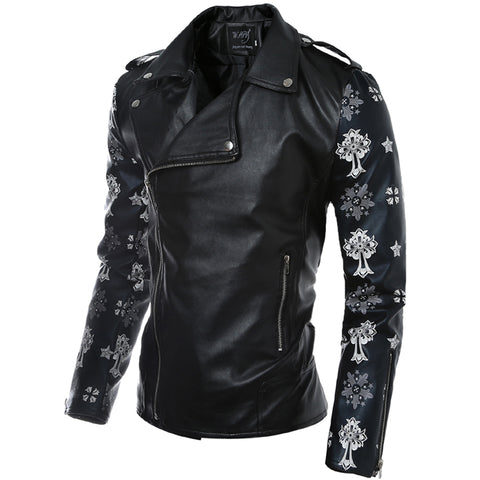 Individuality Zipper Design Splicing Slim Leather Jacket
