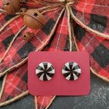 Load image into Gallery viewer, Black & Silver Peppermint Studs