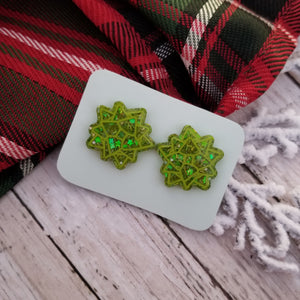 Green Gift Bow Studs