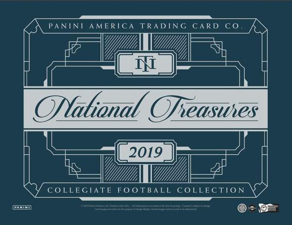 2019 National Treasures Collegiate Football 2 box 1/2 case break #1