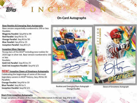 2020 Topps Inception 16 box full case break pick your team #1