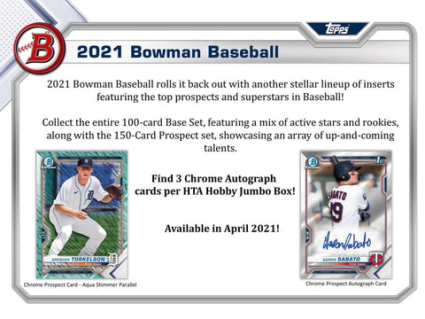 2021 Bowman Baseball HTA Jumbo Hobby Box 1 Sealed Box (Shipped)