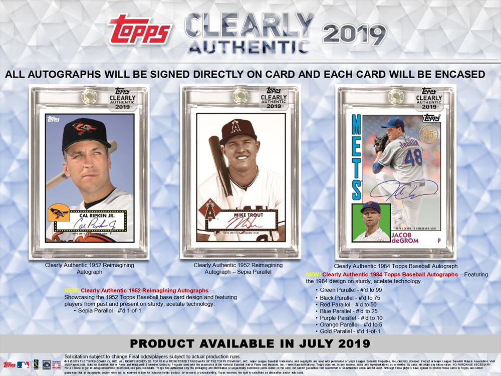 2019 Topps Clearly Authentic Baseball 20 box full case break pick your team #1