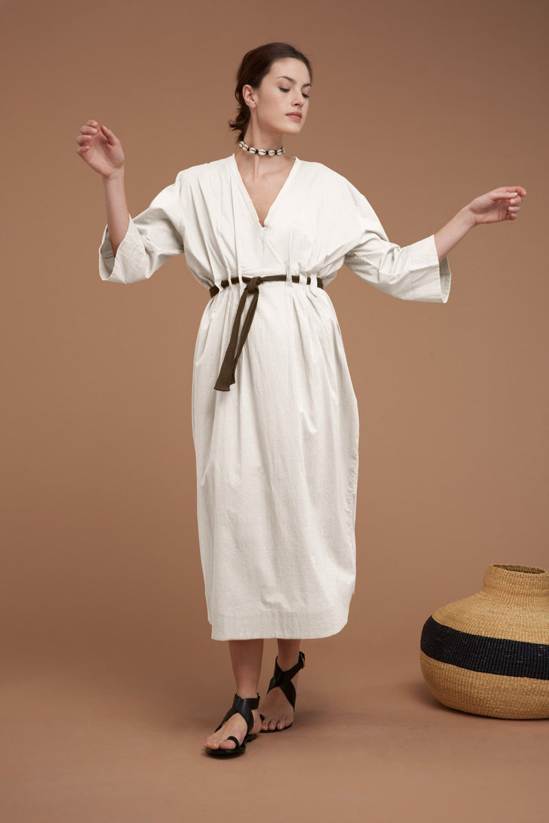 Mare di Latte - AGATA LONG DRESS COTTON WITH BELT