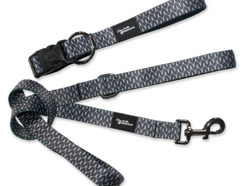 Charlotte & Emerson The Myles Collection Premium Dog Collar & Leash Set - Black and White Geometric