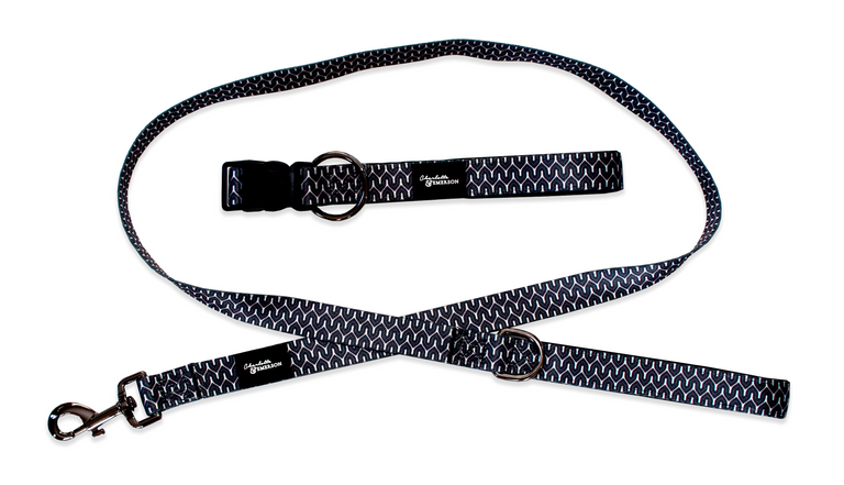 The Myles Collection Premium Dog Collar & Leash Set - Black and White Geometric