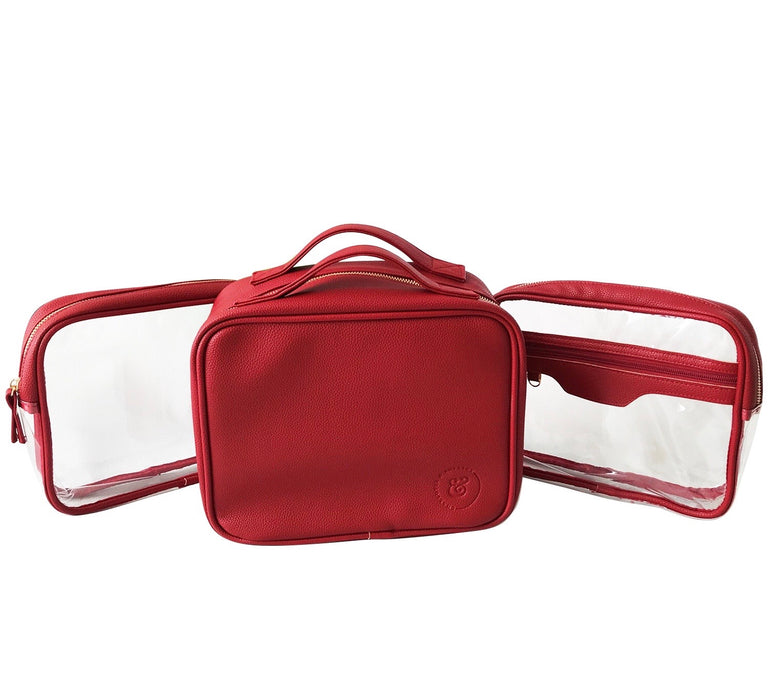 Charlotte and Emerson - London Cosmetic Bag Set  - Lipstick Red Suitcase Style