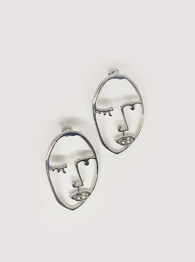 Abstract Silver Face Earrings - Evie Earrings