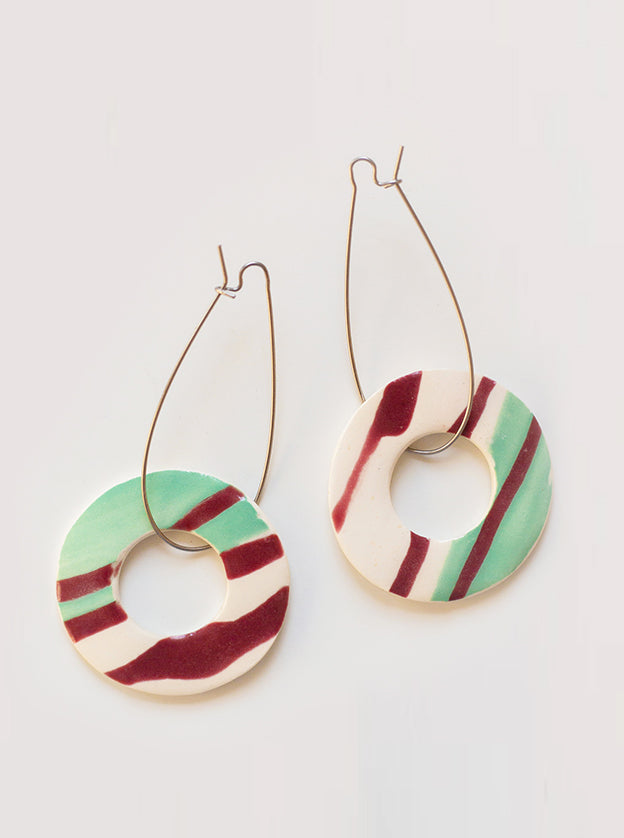 Mint Slice Ceramic Earrings