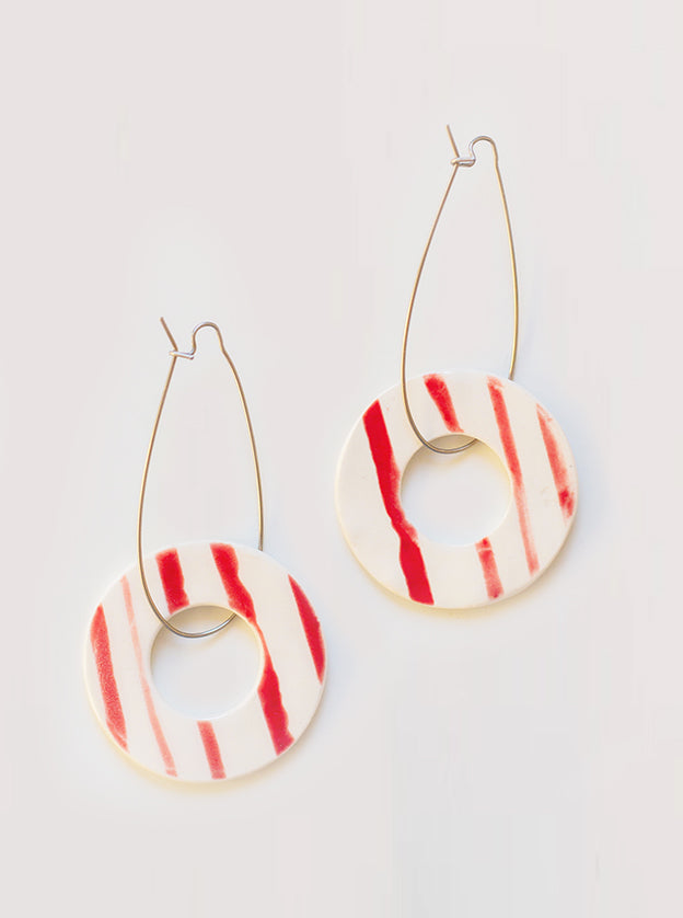Strawberry Swirl Ceramic Earrings
