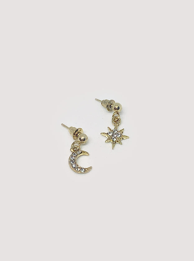 Moon and Star Stud Closure Earrings