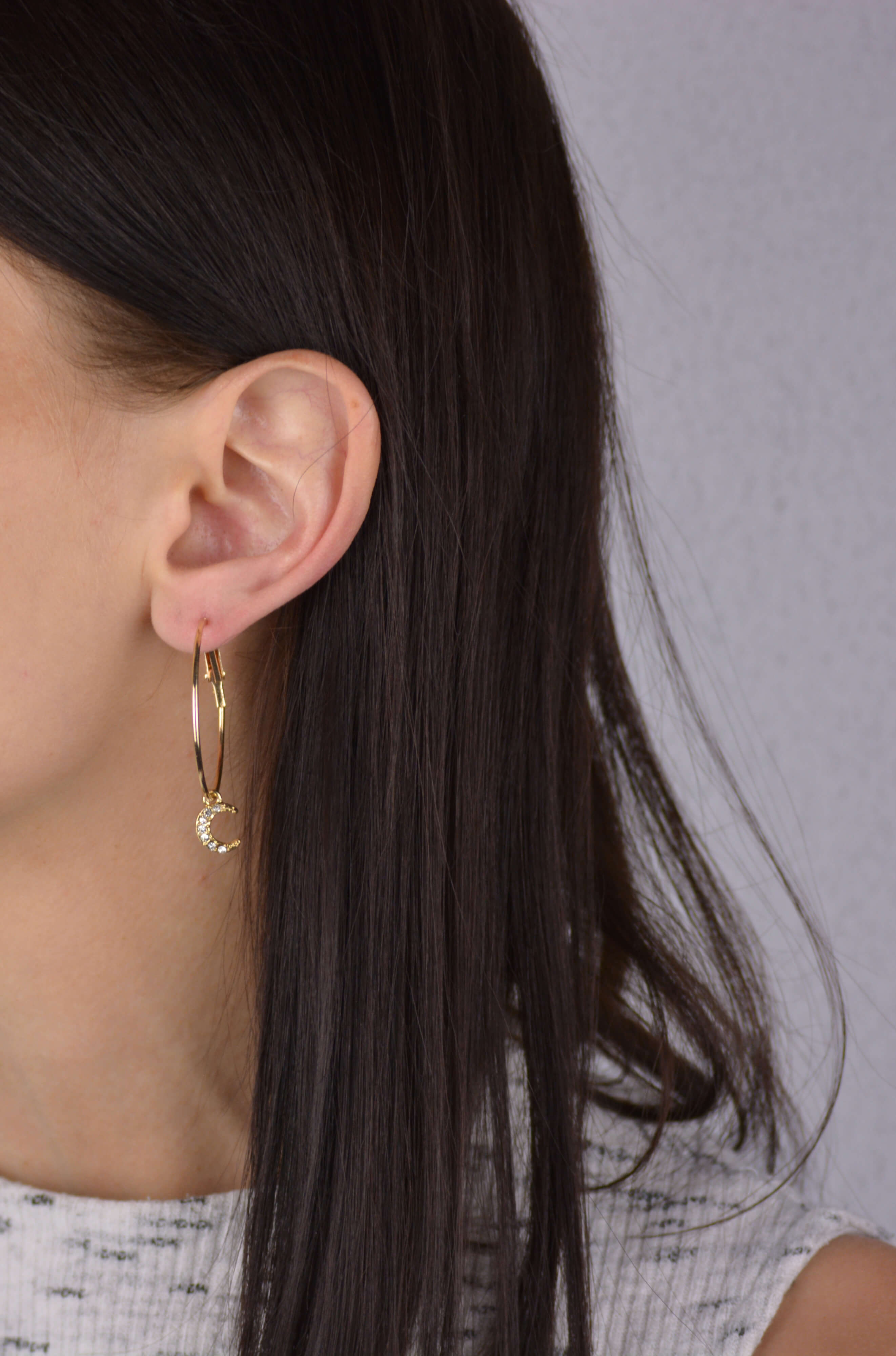 Moon and Star Closure Earrings