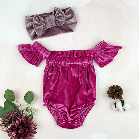 velvet off shoulder onesie || lilac rose