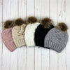 crochet knit beanie with pom || mauve