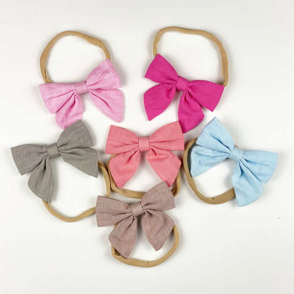 linen bow headband || toast