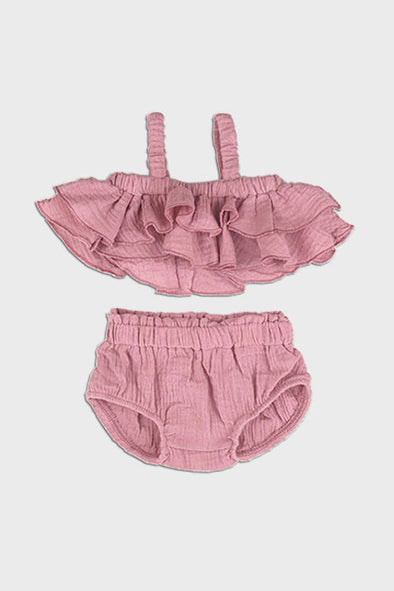 2 pc linen ruffle set || wild rose
