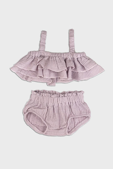 2 pc linen ruffle set || lilac