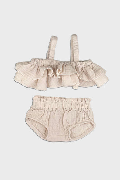 2 pc linen ruffle set || cream