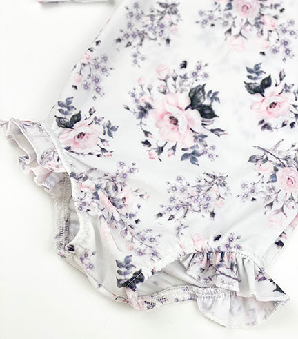 long sleeve swimsuit || vintage floral