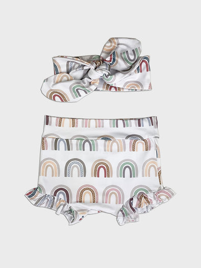 2 pc frill short set || vintage rainbow