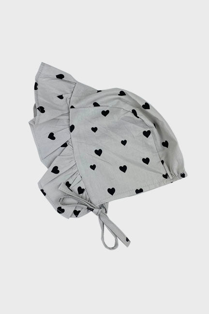 2 pc bonnet set || grey hearts