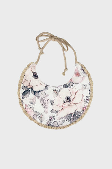 reversible bib || dusty pink floral