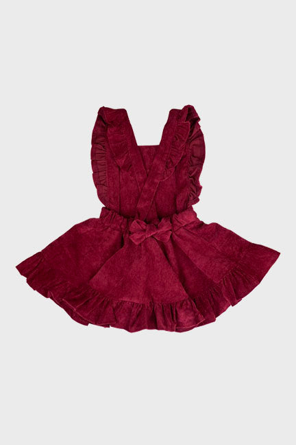 corduroy suspender dress || berry