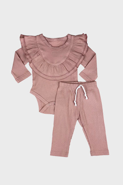 2 pc ruffle pant set || misty rose
