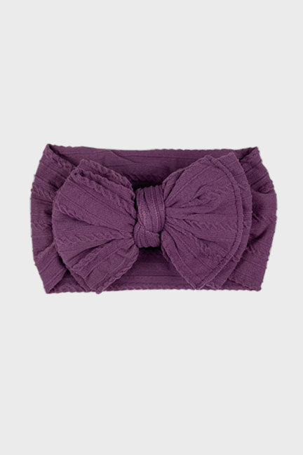 big bow knotted headband || argyle purple
