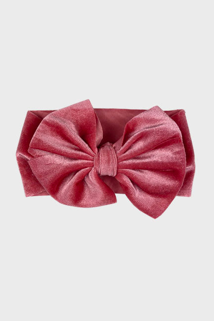 velvet big bow headband || tea rose
