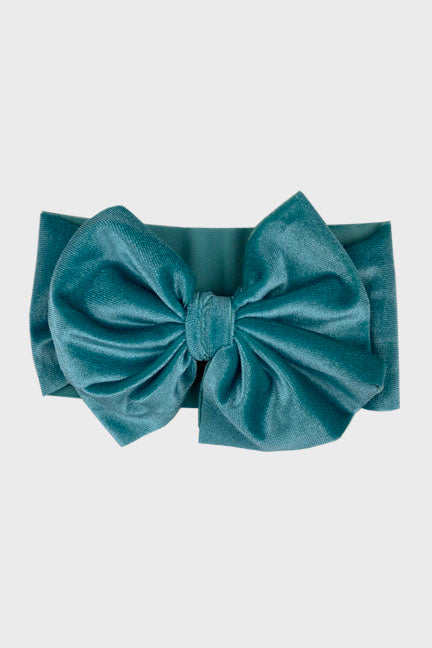 velvet big bow headband || teal