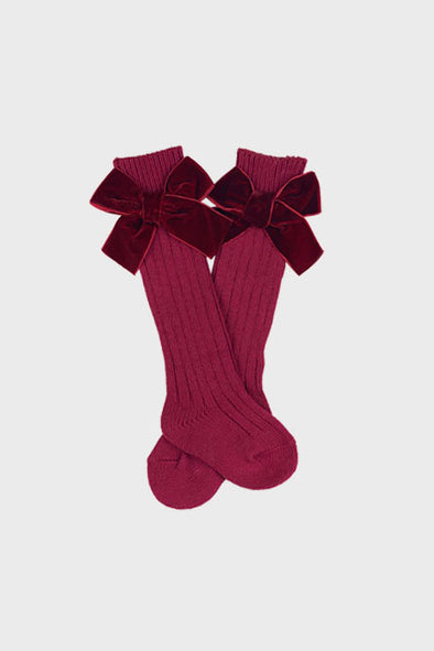 velvet bow knee high socks || scarlet