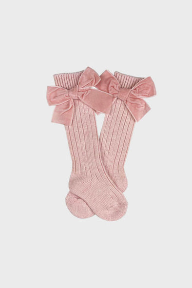 velvet bow knee high socks || powder pink