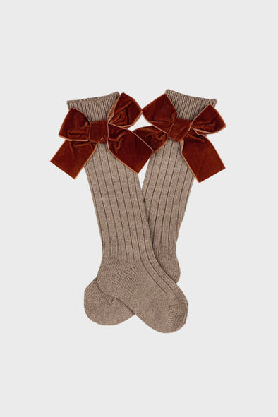 velvet bow knee high socks || cinnamon