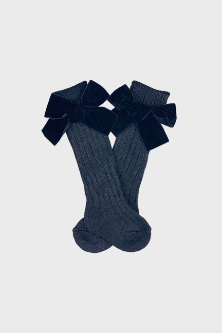velvet bow knee high socks || black