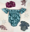 velvet off shoulder onesie || frosted teal