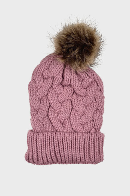 mommy cable knit pom beanie || mauve