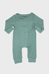 long sleeve button onesie || sage