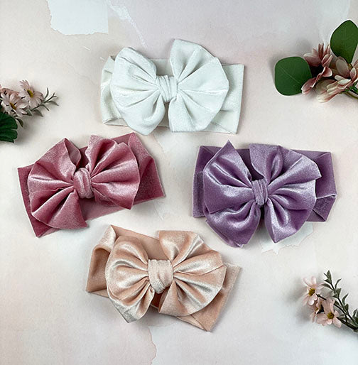 velvet big bow headband || orchid
