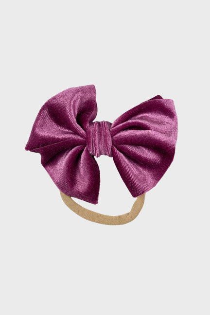 velvet bow headband || violet quartz